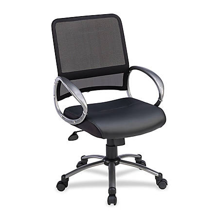 Lorell® Mid-Back Mesh/Bonded Leather Task Chair, Black/Silver