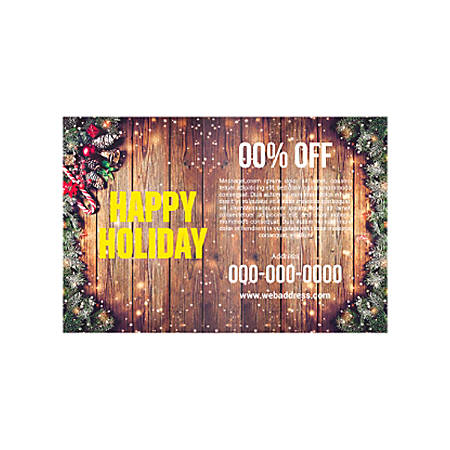 Banner Template, Horizontal, Wood Winter Holiday