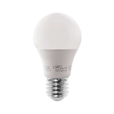 Euri A19 5000 Series LED Light Bulb, 200°, Dimmable, 450 Lumen, 5 Watt, 3000K/Warm White, Pack Of 12 Bulbs