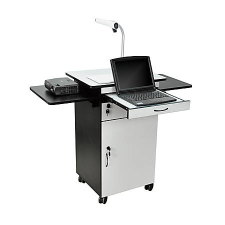 H. Wilson Multimedia Workstation With Locking Cabinet, Gray/Black
