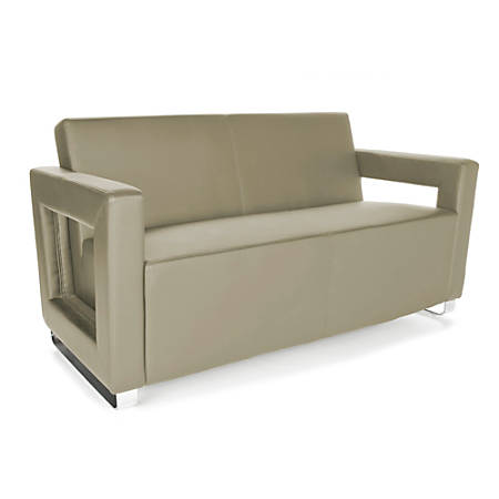 OFM Distinct Series Soft Seating Sofa, Taupe/Chrome