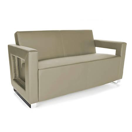 OFM Distinct Series Soft Seating Sofa, Taupe/Chrome