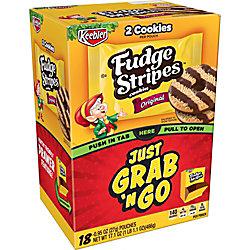 Keebler Fudge Stripe Cookies Grab 'N Go Pouches - Shortbread - 18 / Box