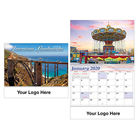 Historic Landmarks Stitched Wall Calendar