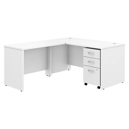 "Bush Business Furniture Studio C 60""W x 30""D L Shaped Desk with Mobile File Cabinet and 42""W Return, White, Premium Installation"