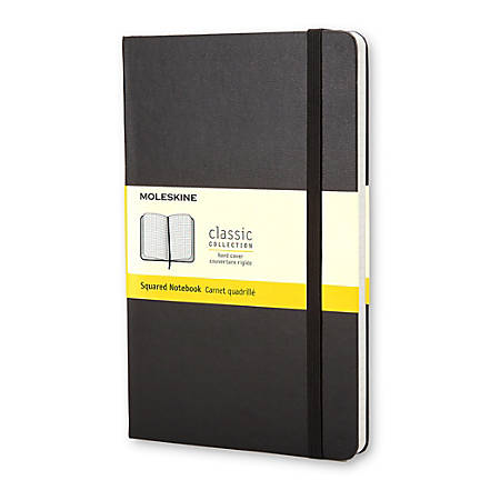"Moleskine Classic Squared Hard Cover Notebook, 5"" x 8-1/4"", Quadrille Ruled, 240 Pages (120 Sheets), Black"