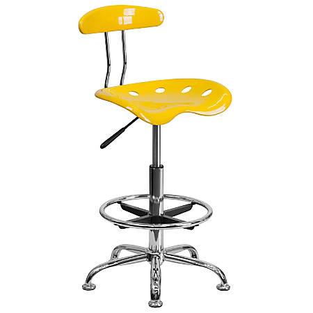 Flash Furniture Vibrant Drafting Stool, Orange-Yellow/Chrome