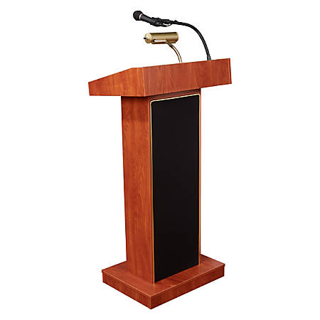 Oklahoma Sound® The Orator Lectern With Tie Clip/Lavalier Wireless Microphone, Wild Cherry