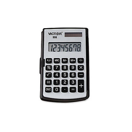 "Victor 908 Handheld Calculator - Big Display, Battery Backup, Independent Memory, Rounded Keytop, Dual Power - 8 Digits - LCD - Battery/Solar Powered - 2.9"" x 4.4"" x 0.4"" - Black - Rubber - 1 Each"
