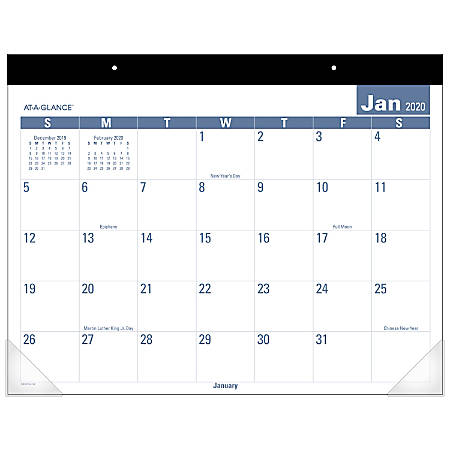 "AT-A-GLANCE® Easy To Read Monthly Desk Pad, 21-3/4"" x 17"", January To December 2020, SKLP2432"