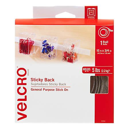 "VELCRO® Brand STICKY BACK® Fasteners, 3/4"" x 15', White"