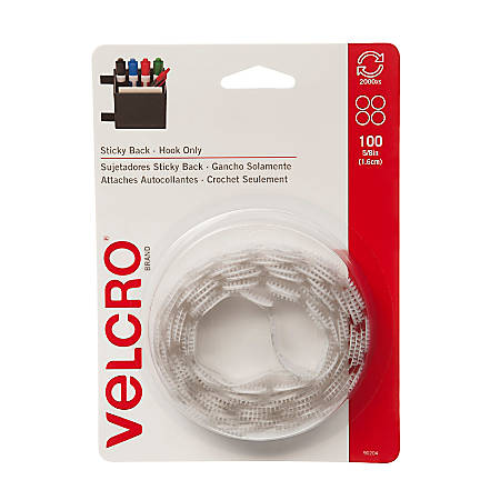 "VELCRO® Brand STICKY BACK® Fasteners, Hook Coins Only, 5/8"", White, Pack Of 100"