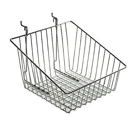 "Azar Displays Chrome Wire Baskets, Sloped, 8""H x 12""W x 12 1/2""D, Silver, Pack Of 2"