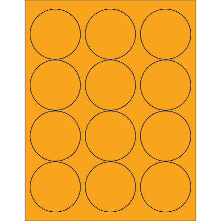 "Office Depot® Brand Labels, LL194OR, Circle, 2 1/2"", Fluorescent Orange, Case Of 1,200"