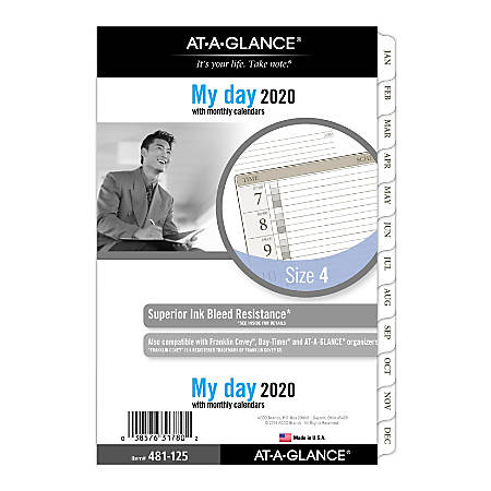 """AT-A-GLANCE® Day Runner® Daily Planner Refill, 1 Page/Day, Size 4, 5-1/2"""" x 8-1/2"""", January to December 2020"""