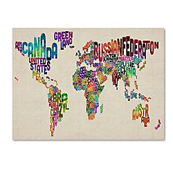 Trademark global typography world map ii gallery wrapped canvas trademark global typography world map ii gallery wrapped canvas print by michael tompsett 22 gumiabroncs Image collections