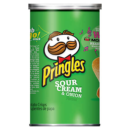 Pringles&reg Sour Cream & Onion - Sour Cream, Onion - Can - 1 Serving Can - 2.50 oz - 12 / Carton