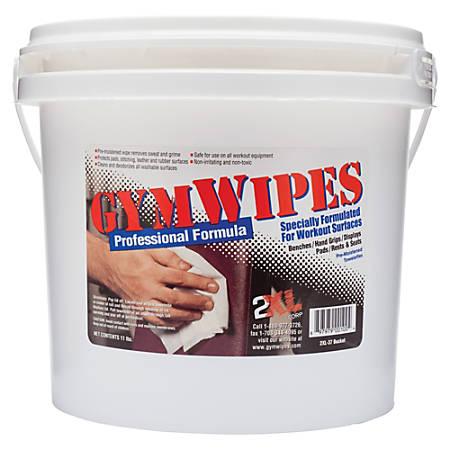 "2XL GymWipes Professional Formula Towelettes For Workout Surfaces, 6"" x 8"", White, Bucket Of 700"