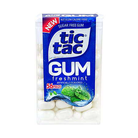 Tic Tac Sugar-Free Freshmint Gum, 56 Pieces Per Container, Pack Of 12 Containers