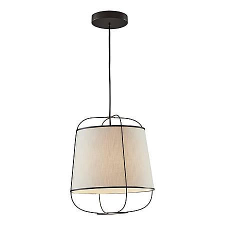 "Adesso® Daisy Pendant Lamp, 16""H, White Shade/Matte-Black Base"
