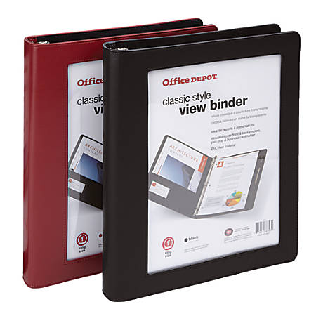 "Office Depot® Brand Classic-Style View Binder, 1"" Rings, Assorted Colors"