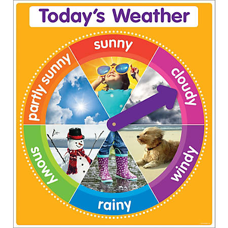 """Color Your Classroom Chart, Today's Weather, 17"""" x 22"""", Orange, Grades Pre-K - 6"""
