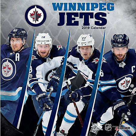 "Turner Sports Monthly Wall Calendar, 12"" x 12"", Winnipeg Jets, January to December 2019"