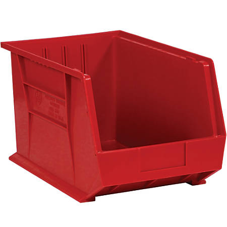 "Office Depot® Brand Plastic Stack And Hang Bin Boxes, 16"" x 11"" x 8"", Red, Pack Of 4"
