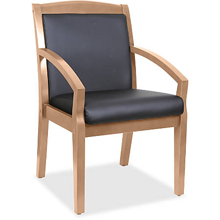 Lorell® Sloping Arms Bonded Leather Wood Guest Chair, Black/Walnut