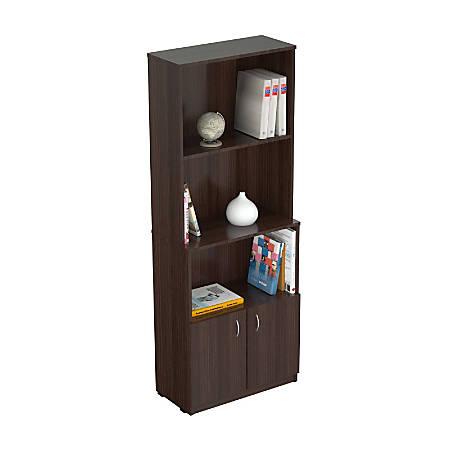 Inval Bookcase With Storage Area, Espresso-Wengue