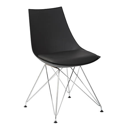 Ave Six Eiffel Bistro Chairs, Black/Chrome, Pack Of 2