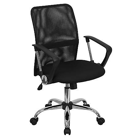 Flash Furniture Mesh Mid-Back Swivel Task Chair With Chrome Base, Black/Silver