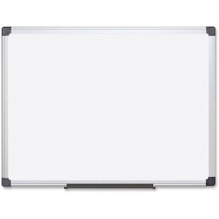 "Bi-silque Porcelain Magnetic Dry Erase Board - 96"" (8 ft) Width x 48"" (4 ft) Height - White Porcelain Surface - Silver Aluminum Frame - Rectangle - Horizontal/Vertical - Mount - 1 Each"