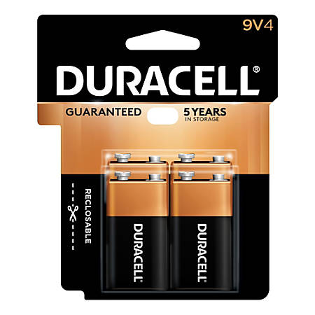 Duracell Coppertop Alkaline 9-Volt Batteries, Pack Of 4