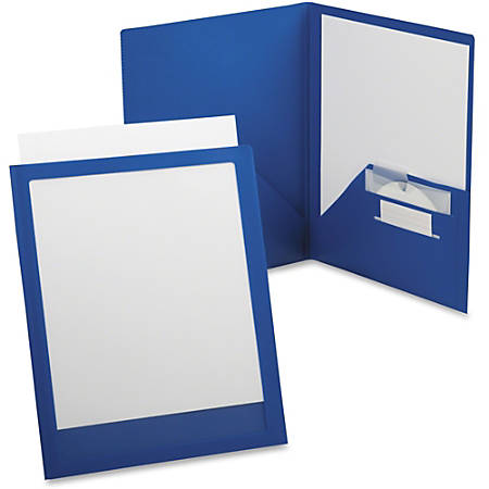 """TOPS Oxford ViewFolio Plus Twin Pocket Folders - Letter - 8 1/2"""" x 11"""" Sheet Size - 50 Sheet Capacity - 2 Inside Back, Inside Front Pocket(s) - Polypropylene - Blue, Clear - 1 Each"""