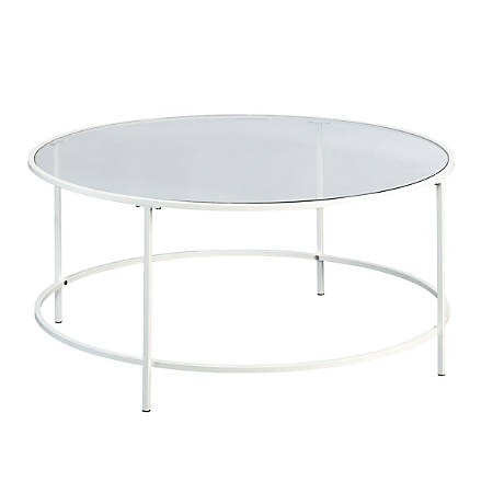 Sauder Anda Norr Glass Coffee Table Round White Office Depot