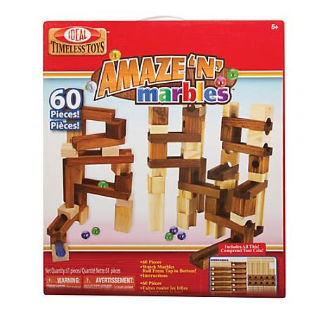 Ideal® Amaze-N-Marbles™ 60-Piece Classic Wood Construction Set