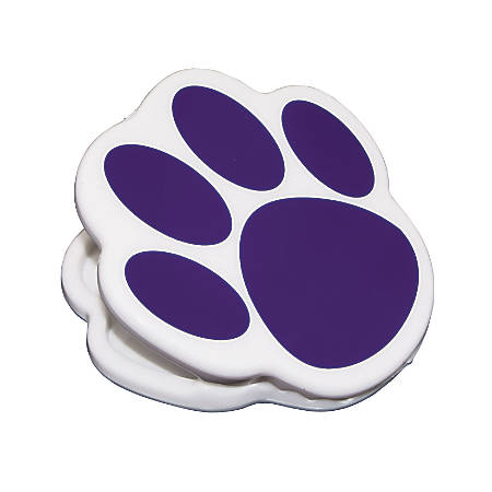 """Ashley Productions Magnetic Clips, 3"""", Paw, Purple, Pack Of 12"""