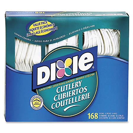 Dixie Heavy-duty Plastic Cutlery - 168 / Box - 168 Piece(s) - 1008/Carton - 56 x Spoon - 56 x Knife - 56 x Fork - Plastic - White