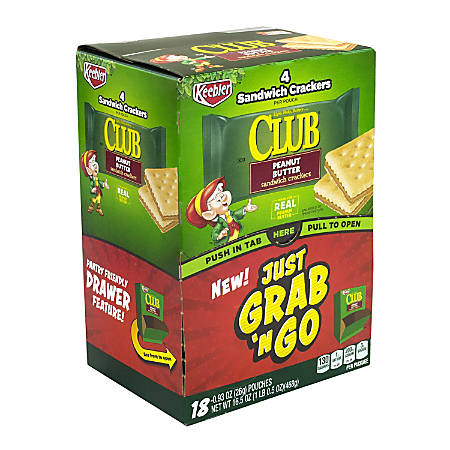 Keebler Club Peanut Butter Sandwich Cracker Grab 'N Go Packs, 17.6 Oz, 4 Crackers Per Pack, Box Of 18 Packs