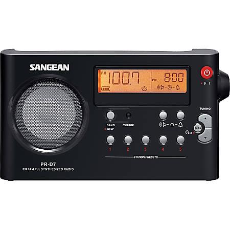 Sangean PR-D7 Desktop Clock Radio - FM, FM, AM, AM - Battery Rechargeable