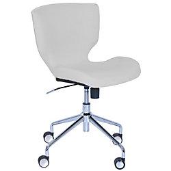 Elle Décor Madeline Hourglass Mid-Back Task Chair, Cream/Chrome