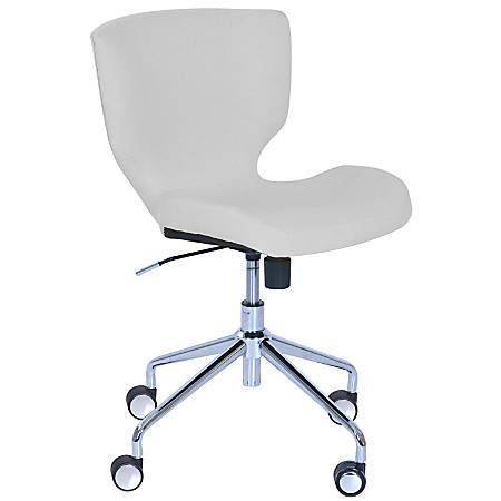 Elle Décor Madeline Hourglass Mid-Back Task Chair, Cream/Chrome