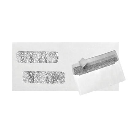 """LUX Double-Window Invoice Envelopes With Peel & Press Closure, #10, 4 1/8"""" x 9 1/8"""", White, Pack Of 1,000"""