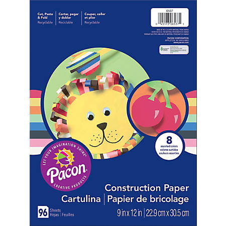 "Art Street® Construction Paper, 9"" x 12"", Assorted Colors, Pack Of 96 Sheets"