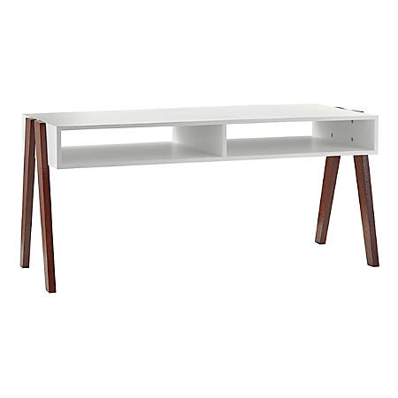 "Adesso® Laurel Coffee Table, Rectangle, 18-3/4""H x 40-3/4""W x 17-3/4""D, White/Walnut Oak"