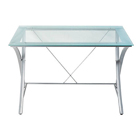Realspace® Zentra Main Desk, Silver/Clear