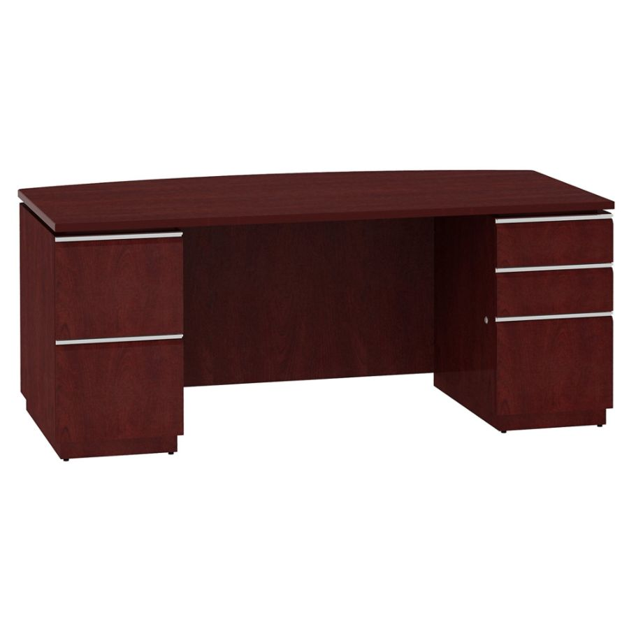 Bush Business Furniture Milano2 Bow Front Office Desk With 2 Rh Officedepot  Com
