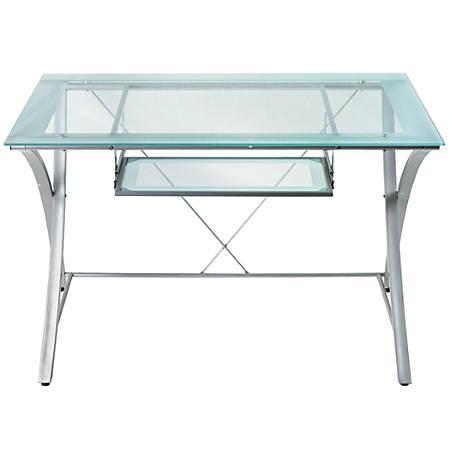 Realspace® Zentra Computer Desk, Silver/Clear