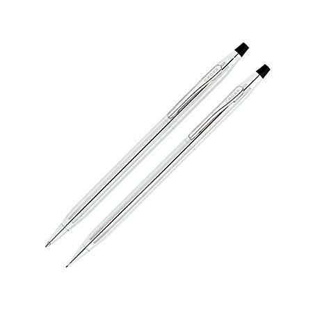 Cross® Classic® Century® Ballpoint Pen/Pencil Set, Lustrous Chrome Barrels, Black Ink